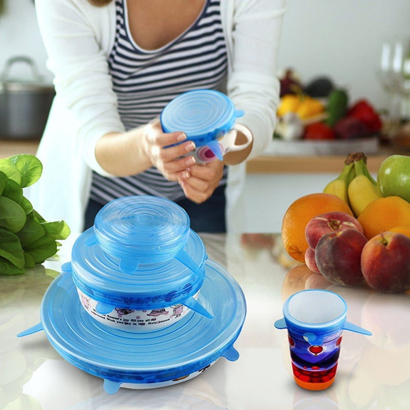 Blue Reusable Silicone Stretch Lids