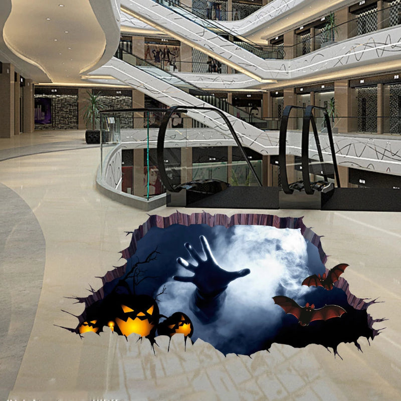 Halloween 3D View Scary One Hand Removable Wall Sticker Floor Mural Decoration