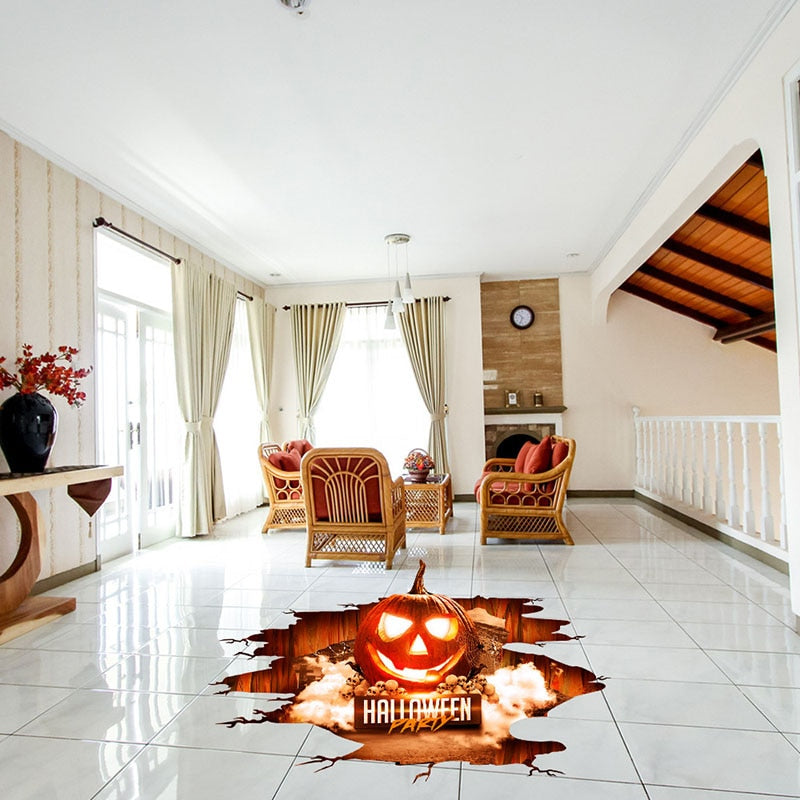 Halloween 3D View Scary Pumpkin Shaped Removable Floor Stickers