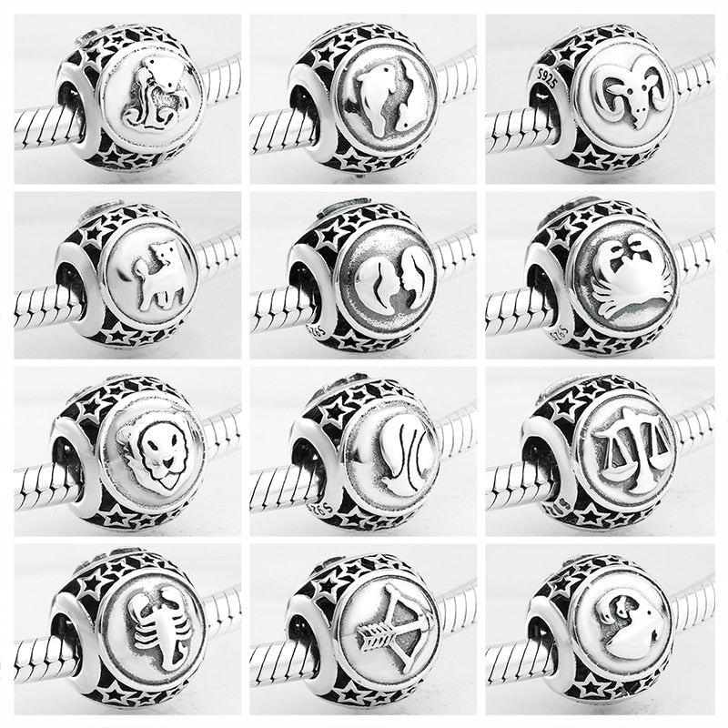 Constellation Zodiac Sign 925 Sterling Silver Pandora Charm Bracelet