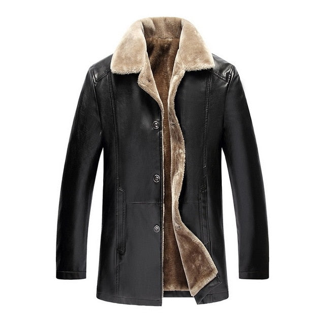 Men's Suede Leather Faux Fur Lined Button-Up Jacket