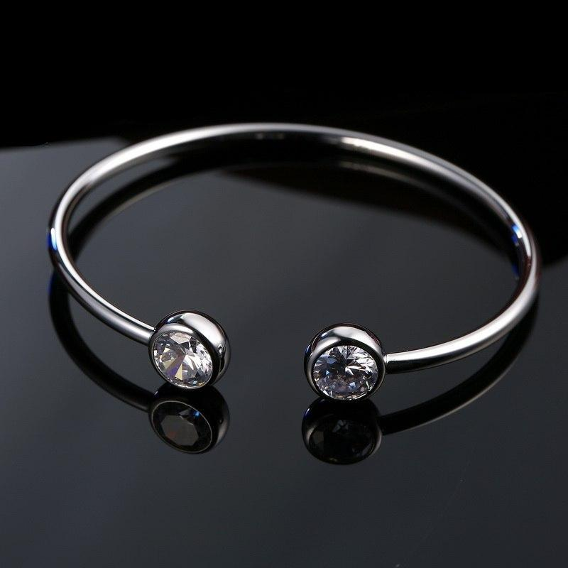 Women's Fine 925 Sterling Silver Pinch Bangle with Crystal