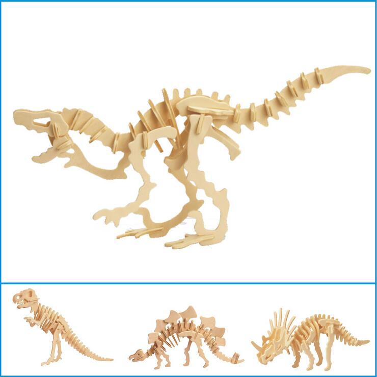 Dinosaur 3D Wooden Puzzle DIY Simulation Model Children Educational Toys 3D Jigsaw Kids Gifts