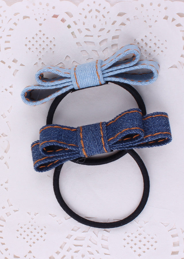 Bowknot Elastic Hair bands Handmade Blue Denim Leisure Girls Women Barrette Hair Accessories