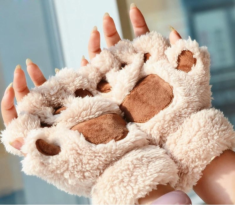 Thick Fuzzy Warm Half Finger Panther Claw Winter Gloves