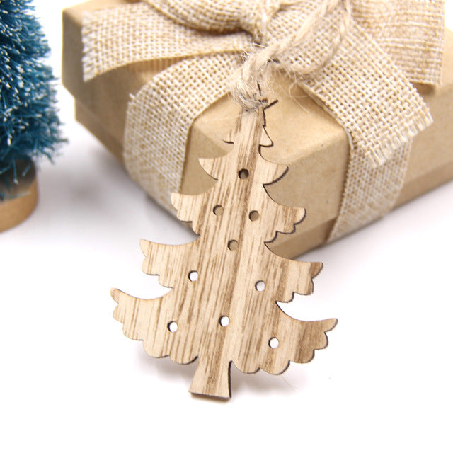 Wooden Christmas Themed Ornament Decorations