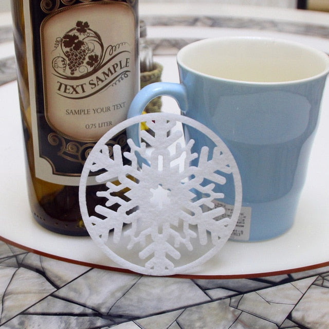 10 Pack: Snowflake Coffee Table Drink Coasters