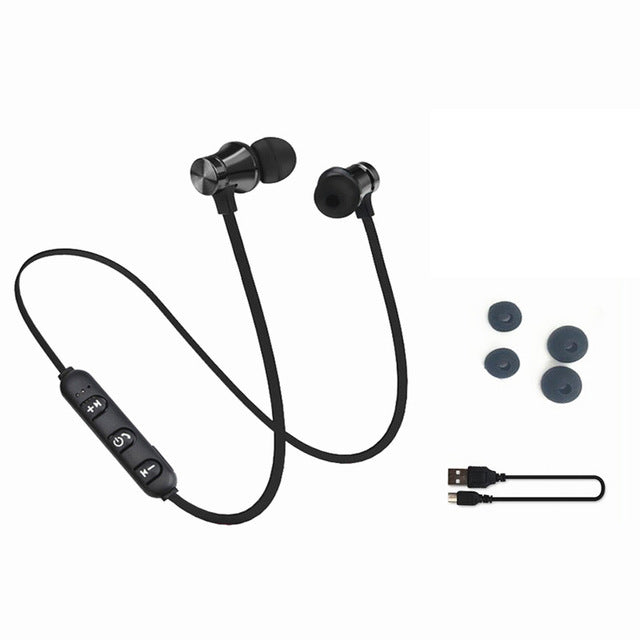 Image of Magnetic Attracted Bluetooth Headphones with Built-In Mic