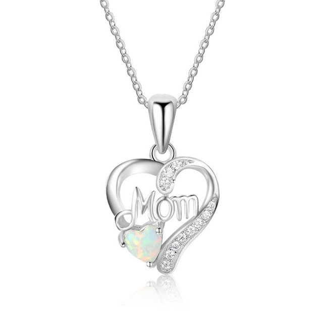 Women's Mom Opal Heart Pendant Necklace