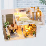 Miniature Wooden Dollhouse Kit with Miniature Furniture
