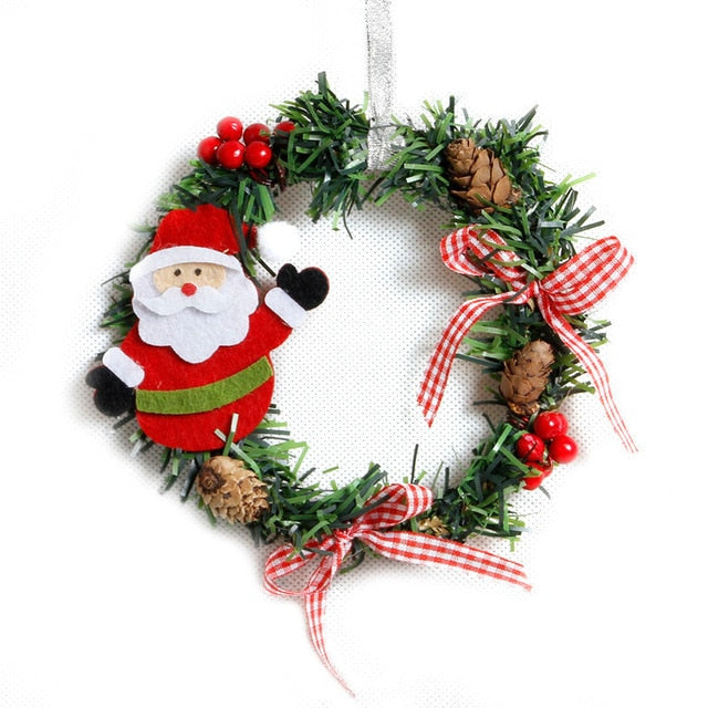 Mini Cartoon Figure Christmas Wreath With Pinecones And Ribbons