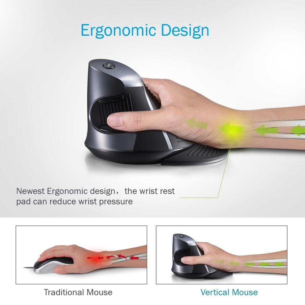 Deluxe Ergonomic Wireless 1600 DPI Vertical Mouse