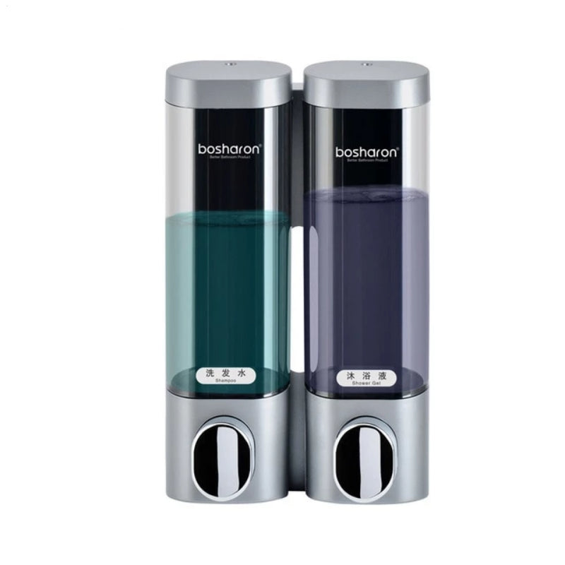 Silver Double Wall Mount Liquid Soap Dispenser