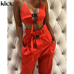 Kliou   crop top strap button fly women two pieces sets   new arrival solid female casual pants button pockets tanksuits