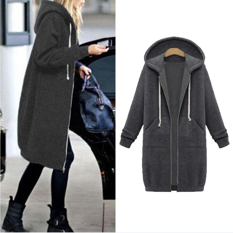 Women's Casual Long Loose Fit Zip-Up Hoodie