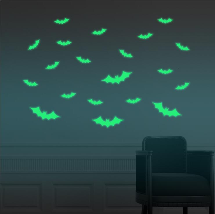 18 Pack: Glow-in-the-Dark Halloween Wall Decorations