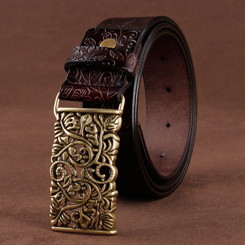Coffee Women's Vintage Pin Buckle Leather Belt