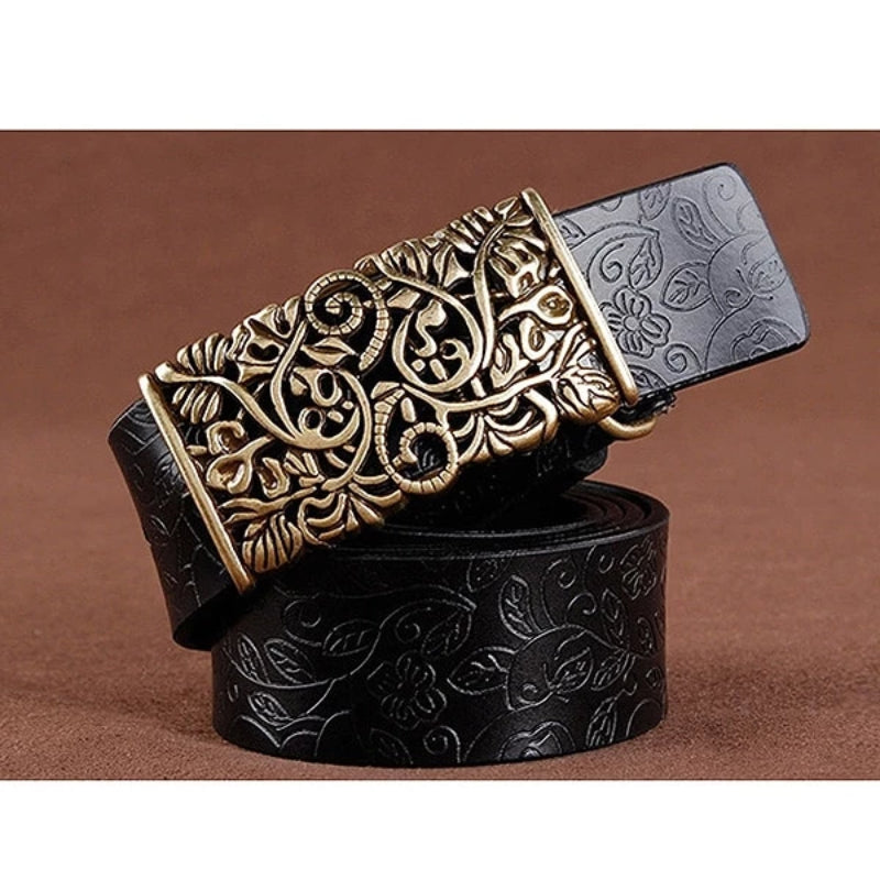 Black Women's Vintage Pin Buckle Leather Belt
