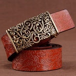 Red Women's Vintage Pin Buckle Leather Belt