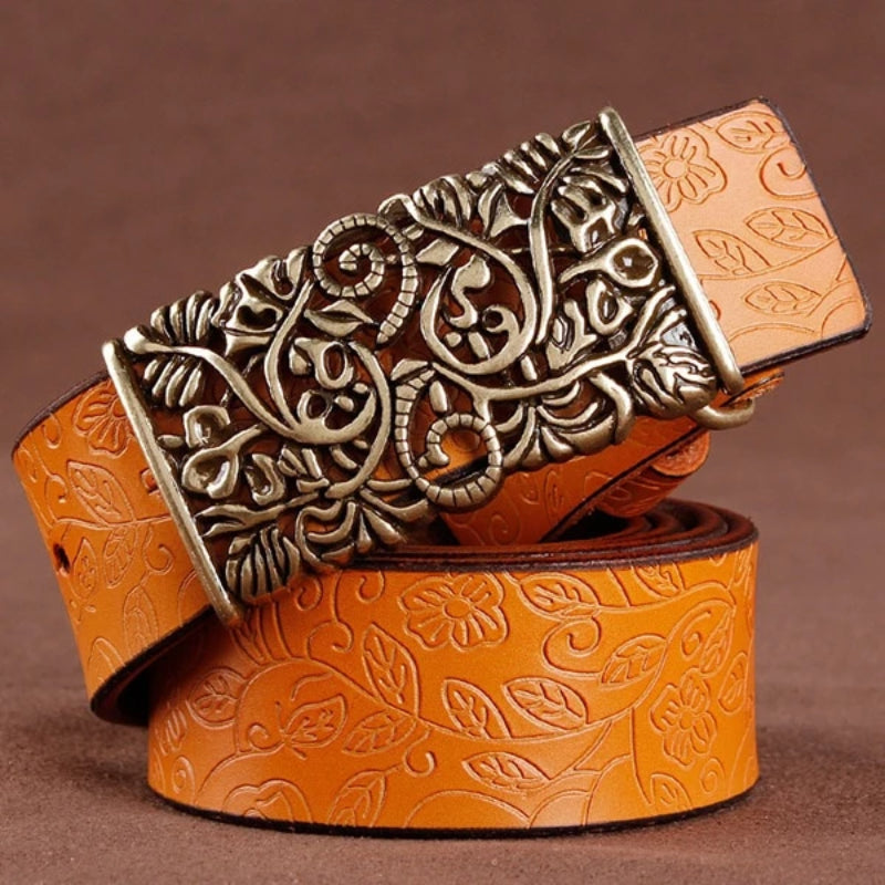 Orange Women's Vintage Pin Buckle Leather Belt