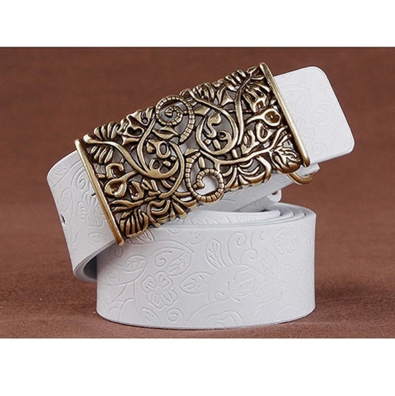 White Women's Vintage Pin Buckle Leather Belt