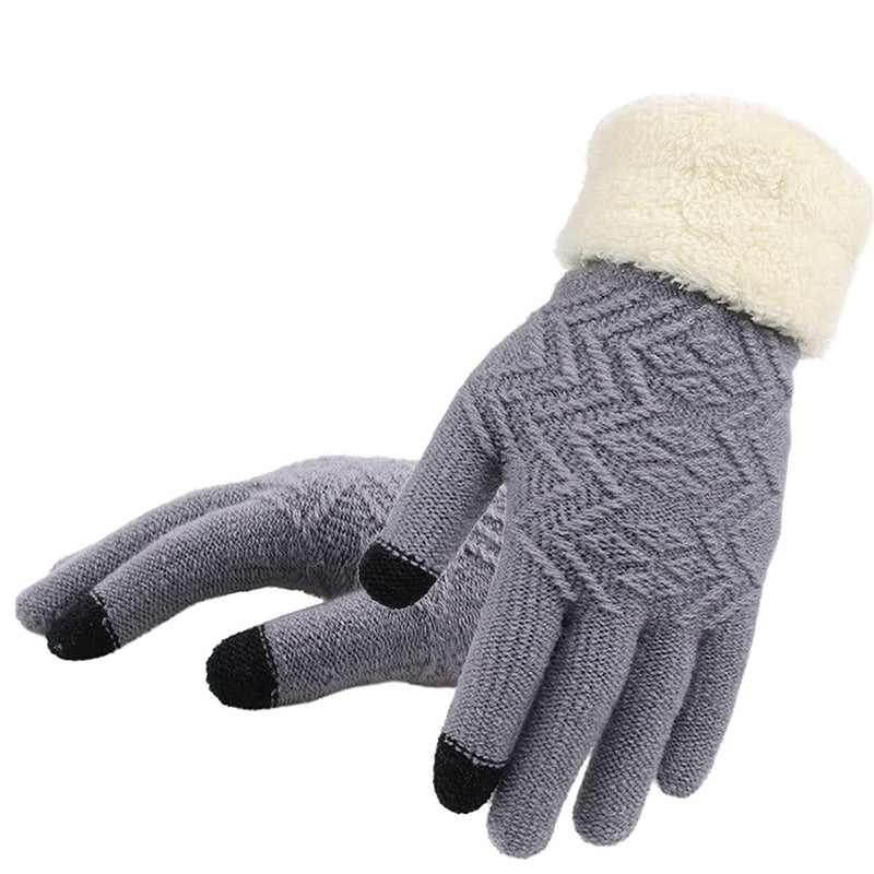 Women's Thick Knit Stretch Fit Touchscreen Gloves with Fuzzy Cuff