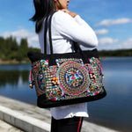 Circle Design Women's Floral Embroidered Canvas Versatile Casual Tote