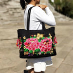 2 Pink Flowers Women's Floral Embroidered Canvas Versatile Casual Tote
