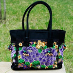 2 Purple Flowers Women's Floral Embroidered Canvas Versatile Casual Tote