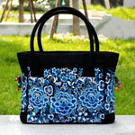 3 Blue Women's Floral Embroidered Canvas Versatile Casual Tote