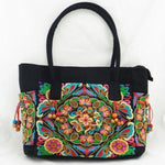 Colorful Flowers Women's Floral Embroidered Canvas Versatile Casual Tote