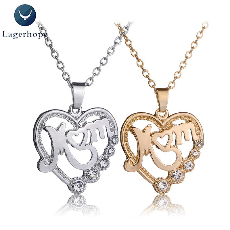 Women's Unique Design MOM Heart Necklace