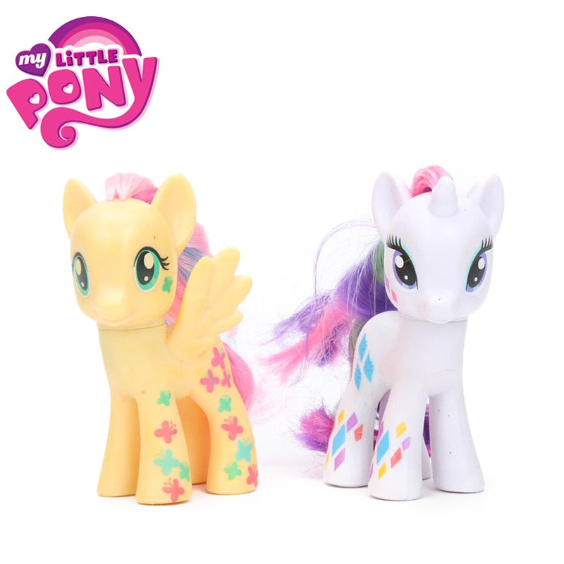 2pcs 8cm My Little Pony Toys Friendship is Magic Apple Jack Rarity Pinkie Pie Cadance PVC Action Figure Collectible Model Dolls