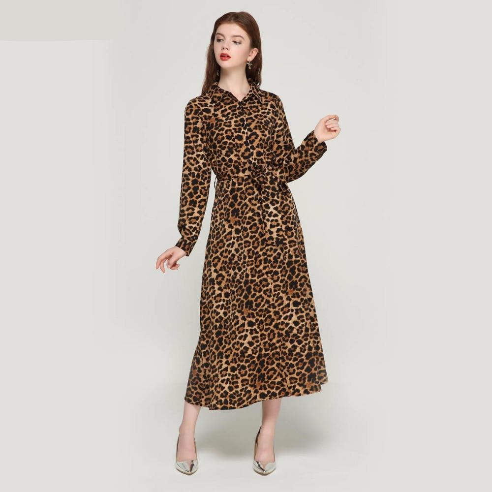 Women's Long Leopard Print Home Fashion Robe
