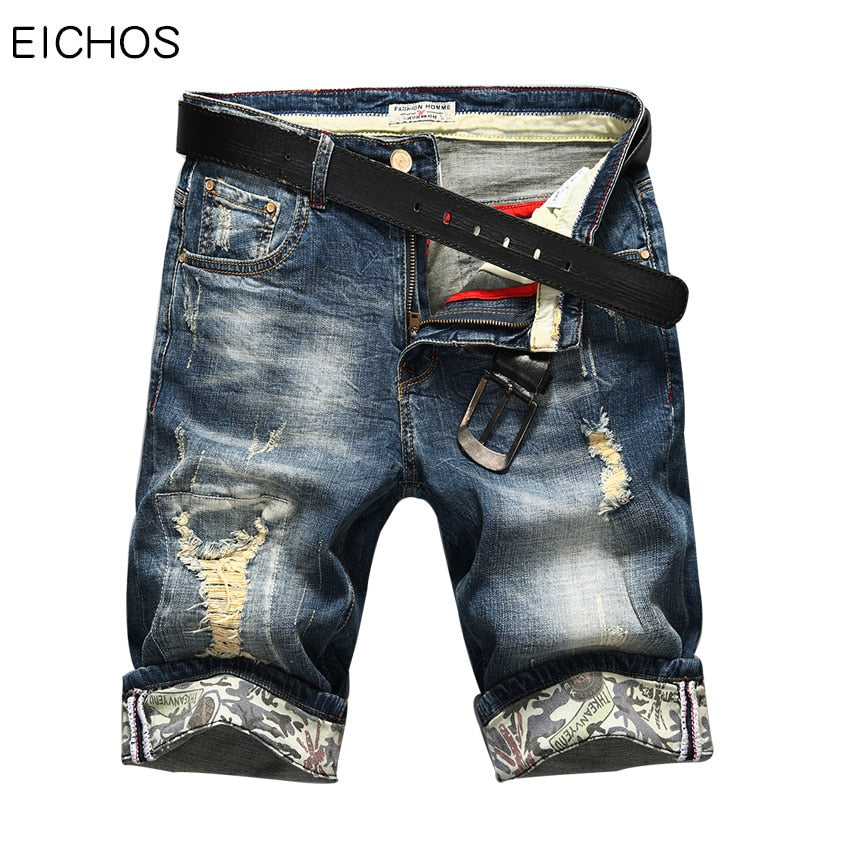 Hot Selling Summer Casual Thin Short Homme De Marque   Korean Youth Mens Denim Shorts Elasticity Distressed Skinny Jeans Men
