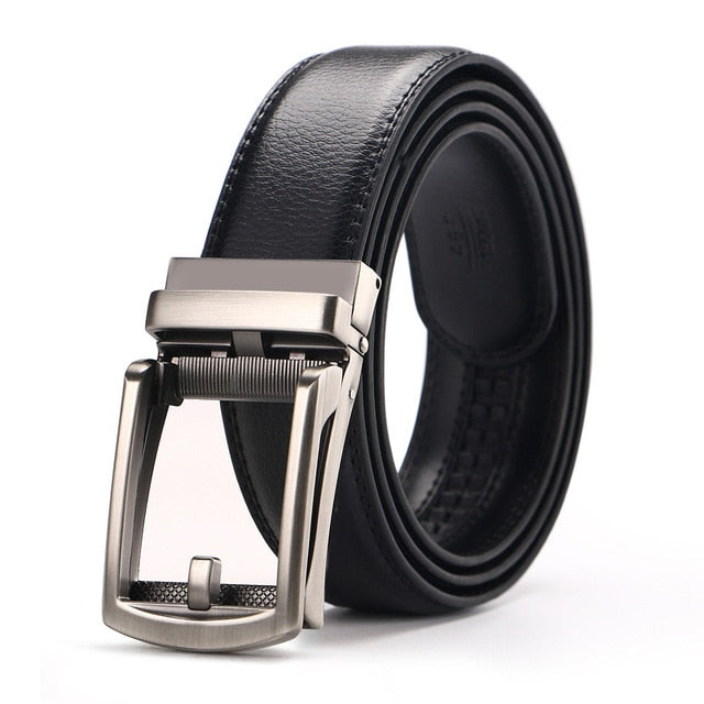Men's Genuine Leather Ratchet Click Dress Belt