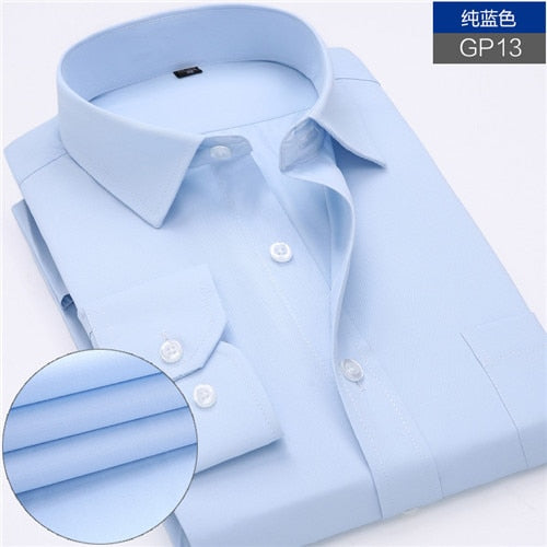 Men's Thin Striped Long Sleeve Collared Business Button-Up