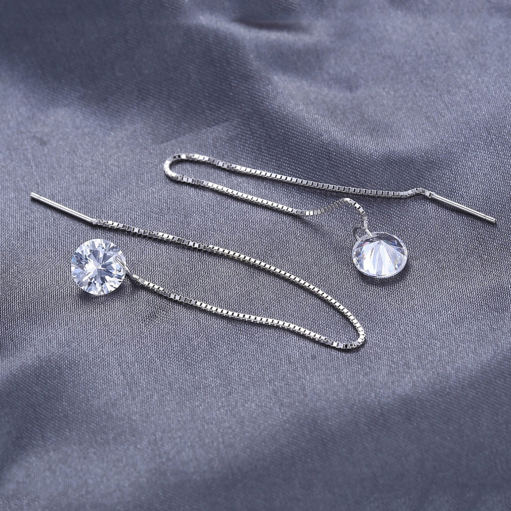 Women's 925 Sterling Silver Linked Round Crystal Earrings