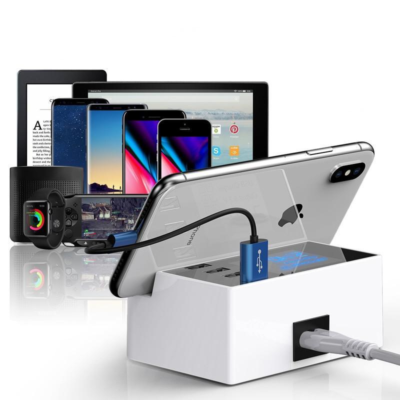 Universal 4-Port LCD Display USB Charge Station