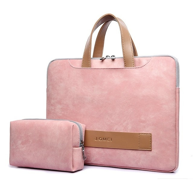Women's Casual Matte Leather Waterproof Laptop Bag with Free Matching Purse