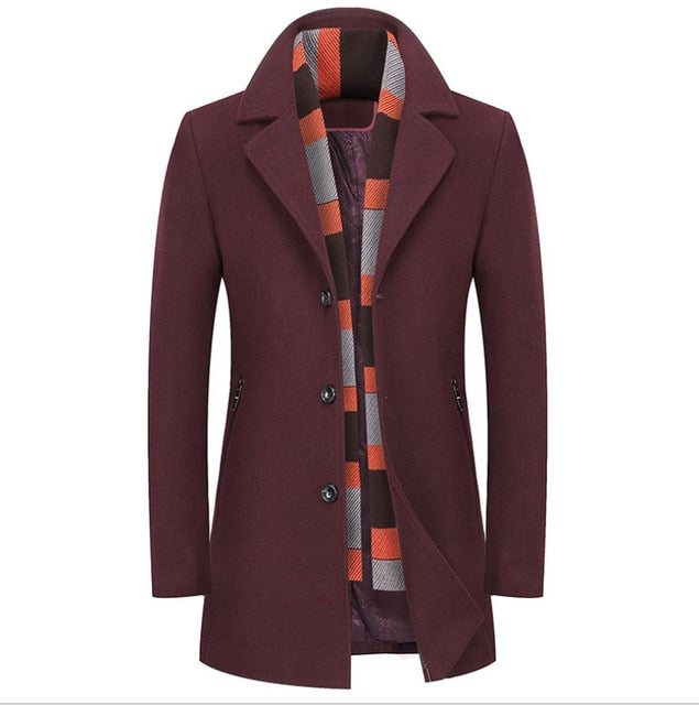 Men's Wool Blend Slim Fit Jacket with Free Scarf
