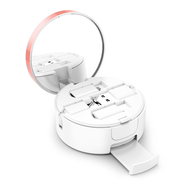 3-in-1 Retractable Micro, Type C, Lightning USB Charging Kit with Mirror & Stand