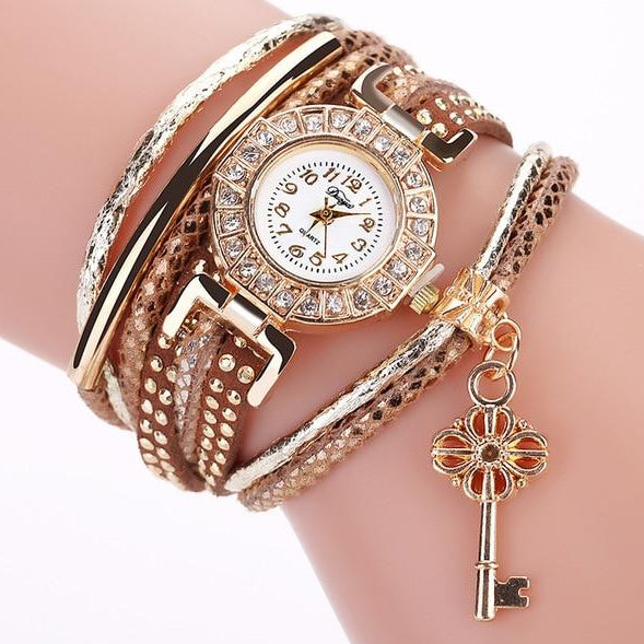 Women's Multi-Band Crystal Embedded Quartz Wristwatch with Key Charm