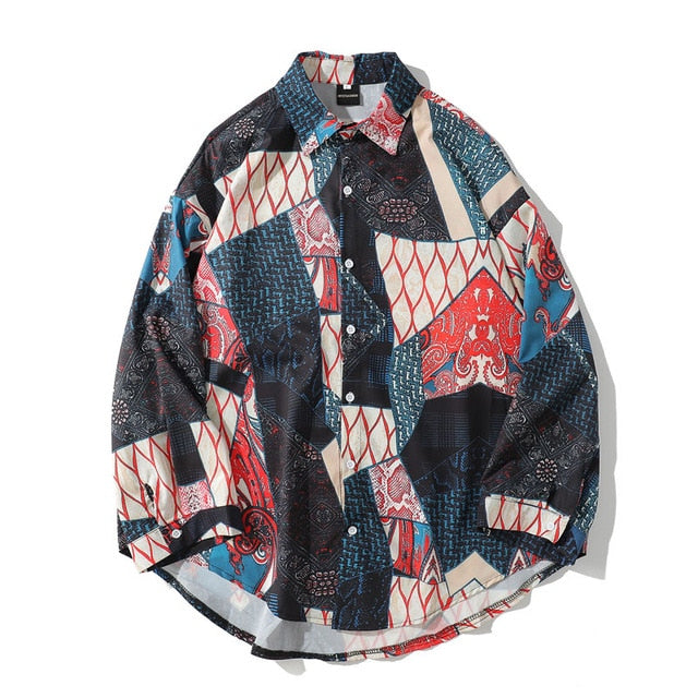 Men's Japanese Ukiyo E Geometry Patchwork Long Sleeve Shirt