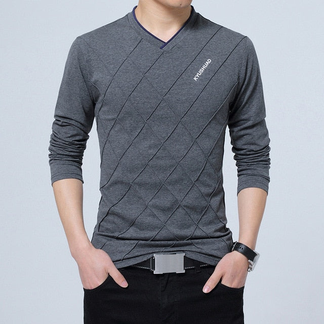 Men's Slim Fit V-Neck Stylish Long Sleeve
