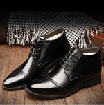 Men's Leather Fur Lined Business Shoes