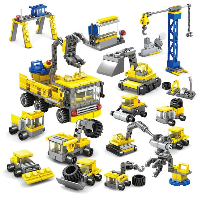 Construction Engineering Sit Vehicles Building Blocks Set - 318 Pieces