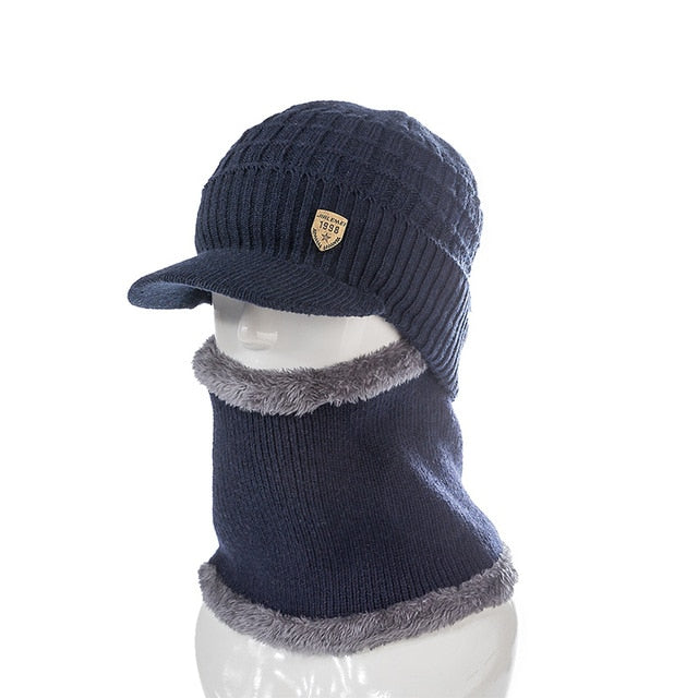 46a727a3e87 Men s Wool Lined Neck Warmer and Winter Knit Brimmed Beanie