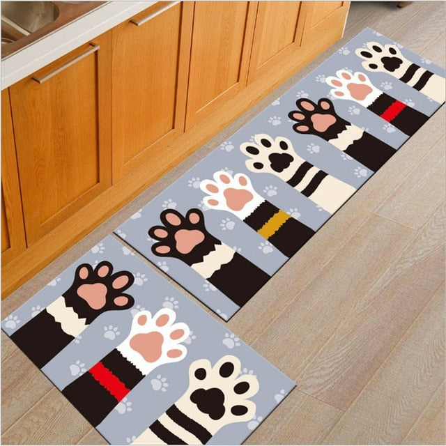 Long Absorbent Patterned Non-Slip Kitchen Floor Mats