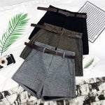 Women's High Waist Knit Shorts with Sashes